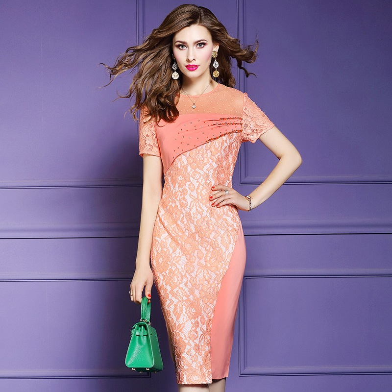 Office club dress 2019 new summer Women Knee Length sexy slim Lace Dress Plus Size Vintage Spring Beading ladies party dresses-in Dresses from Women's Clothing    1