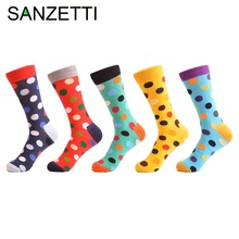 ФОТО warboys 5 pairs/lot bright funny painting women socks colorful dot green cute family cartoon flower pattern combed cotton socks