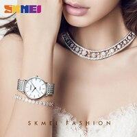 Senhoras de luxo relógio de pulso de quartzo de aço inoxidável mostrador branco reloj mujer mulher relógios de pulso 30m à prova dwaterproof água|Relógios femininos| |  -