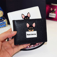 2016 Solid ID&Card Holders For Female High Quality PU Leather Women's Passport Holder Cute Dog Printing Girl's Card Holders