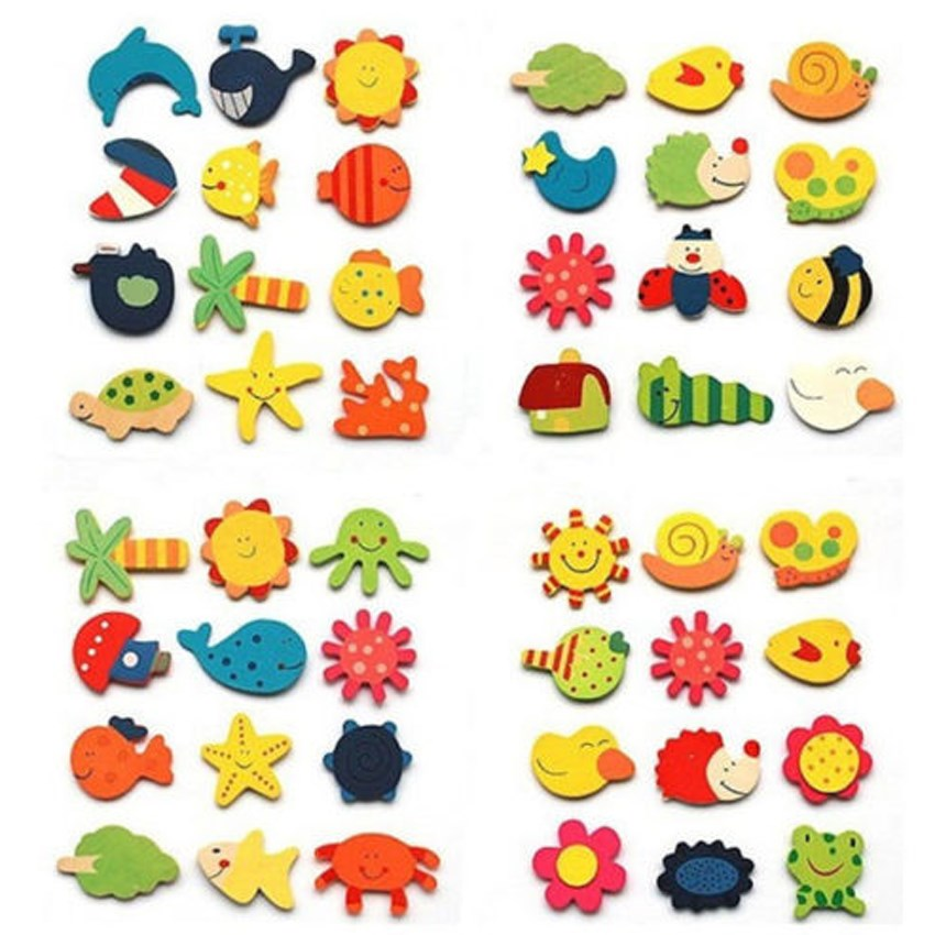 hot sell 12pcs Novelty Animals Wooden Fridge Magnet Sticker Cute Funny Refrigerator Toy S