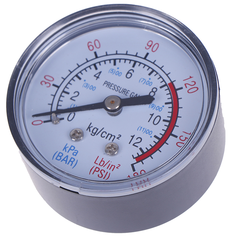 New Plastic Shell Bar Air Pressure Gauge 13mm 1/4 Bsp Thread 0 ~ 180 PSI 0 ~ 12Bar Double Scale For Air Compressor