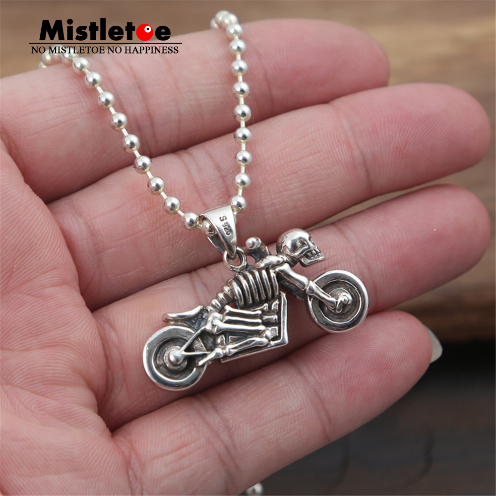 Genuine 100% 925 Sterling Silver Vintage Punk Locomotive Skull Skeleton Motorcycle Pendant For Women Men Necklace Jewelry Thai