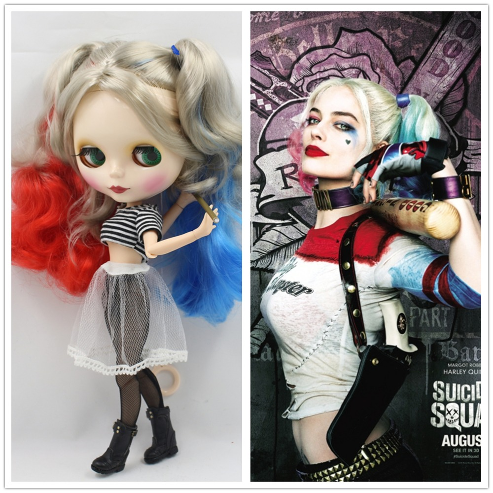 ICY Nude Factory Blyth Doll Harley Quinn No 260BL3167 1061 6208 Red Blue mix lightgold hair