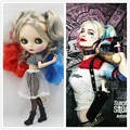 Free shipping Nude Factory Blyth Doll Harley Quinn No.260BL3167/1061/6208 Red Blue mix lightgold hair white skin Joint body Neo