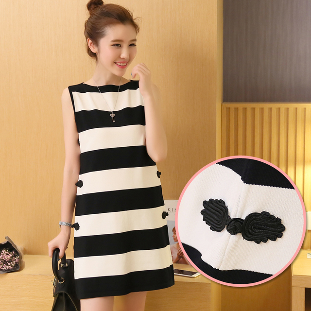 3e9057e0503 maternity clothes for Pregnancy Women s Sleeveless Striped Elasticity  Knitted Cotton Dress Summer Casual Maternity Dresses B21