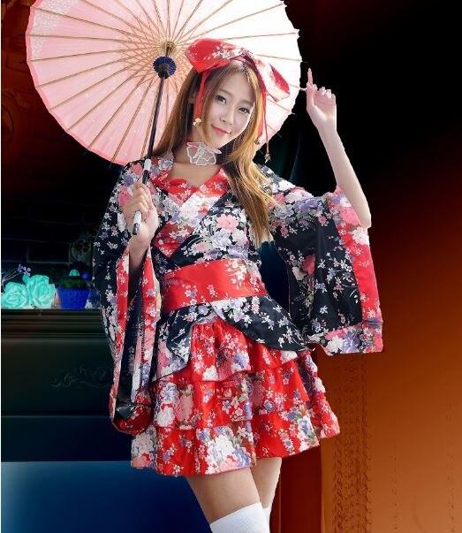 Japanese Kimono Lolita Maid Uniform Outfit Anime Cosplay Costume Girl Dress LOT