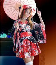 Starlist Japanese Red Floral Kimono Lolita font b Cosplay b font bowknot belt Costume dress font
