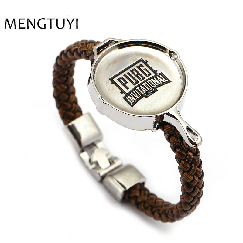 J Store Playerunknown's Battlegrounds Mini <font><b>Pans</b></font> <font><b>charm</b></font> <font><b>bracelet</b></font> PUBG leather <font><b>bracelet</b></font> men jewelry kids toy gift game souvenir image