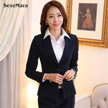 2017 Women Spring New Womens Business Suits Elegant temperament For Ladies Blazer Mujer Full Regular Button Fly Notched