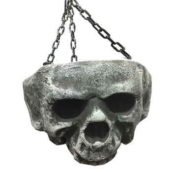 Giant Halloween Pot with Skull Face Hanging Bowl with Chain Hanging Candy Holder Halloween Decorations