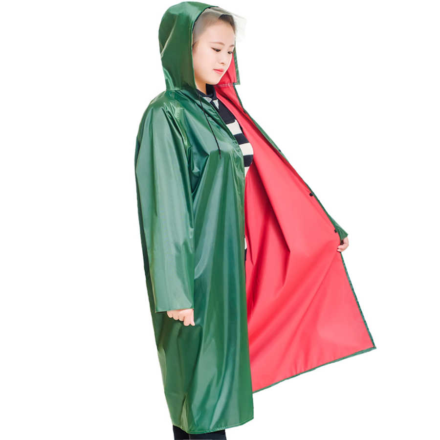 ירוק ארוך מעיל גשם נשים עמיד למים בלתי חדיר פונצ 'ו בתוספת גודל תעלת גשם מעייל דובון סרבל סלעית מעילי גשם R5C019