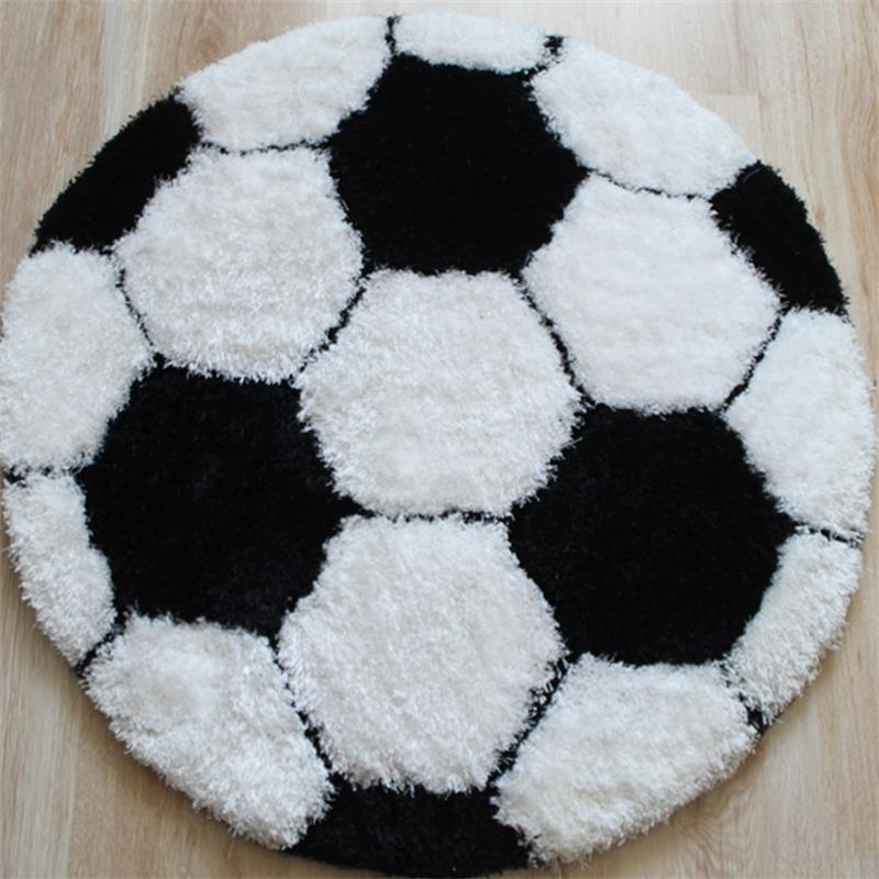 100CM Round Football Carpets For Children Bedroom Home Entrance Doormat  Rotating Chair Thicken Area Rug Cloakroom