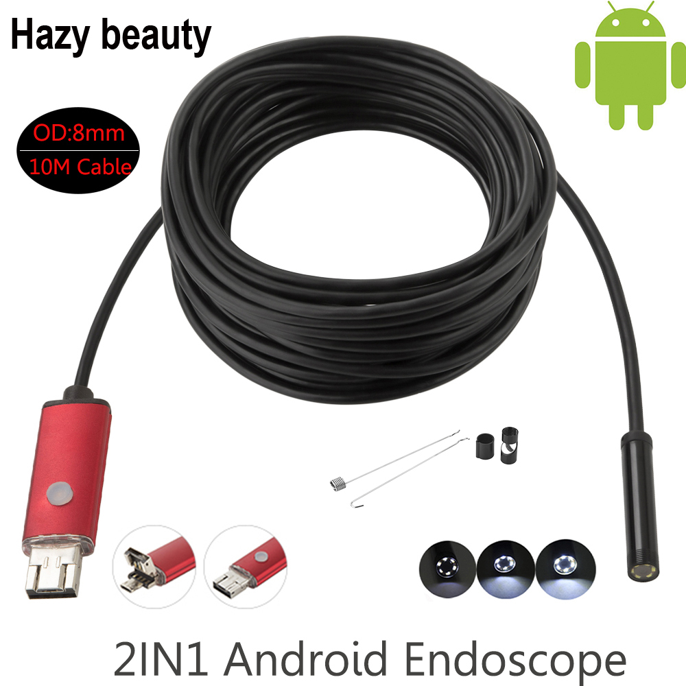 Hazy beauty Waterproof USB Endoscope 10M Cable 6LED Dia 8mm Borescope Inspection Wire Camera With Mini Camera Mirror Hook Magnet  free shipping 8 5mm hd 2mp 720p jpeg usb inspection endoscope borescope photo 98as free magnet mirror hook car diagnostic tools