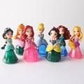 6CM 7pcs/lot PVC Princess Cinderella Jasmine Melinda Snow White Action Figure Set Doll with Crystal Dress Kids Toys For Girl