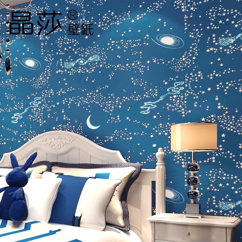 Mural Wallpaper Kids Girls Modern Boys Bedroom Baby Wallpaper Non Woven Blue Sky Star