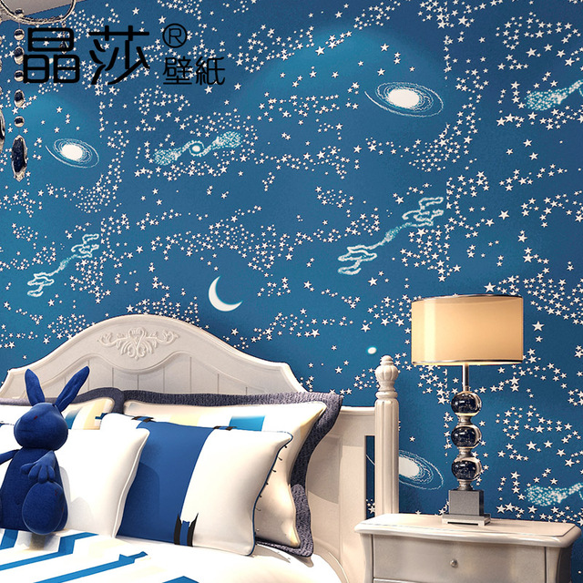 Modern Boys Bedroom Baby Wallpaper Non Woven Blue Sky Star Moon Wallpapers  Wall Paper Roll