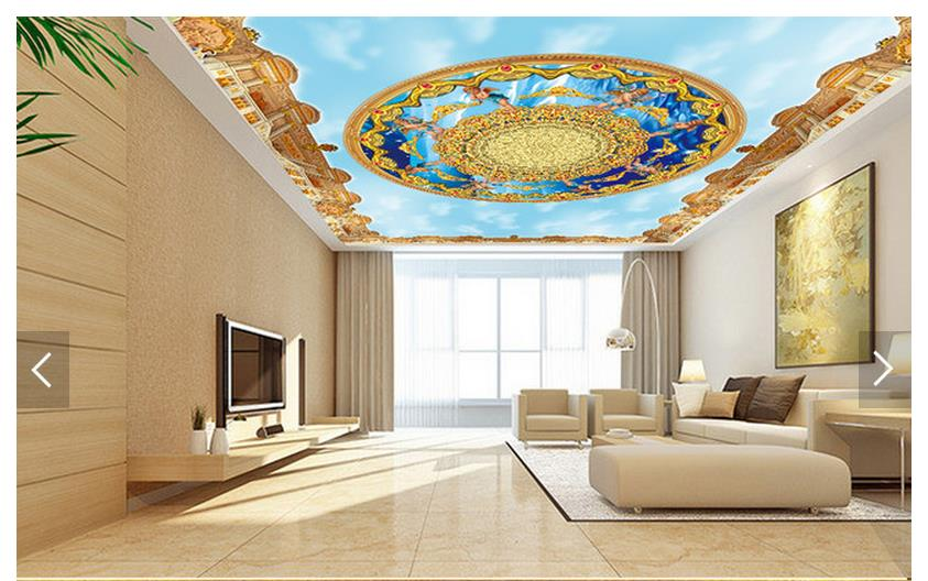 Custom 3d photo wallpaper 3d ceiling wallpaper murals 3 d angels blue sky white clouds ceiling murals 3d room wallpaper blue sky чаша северный олень