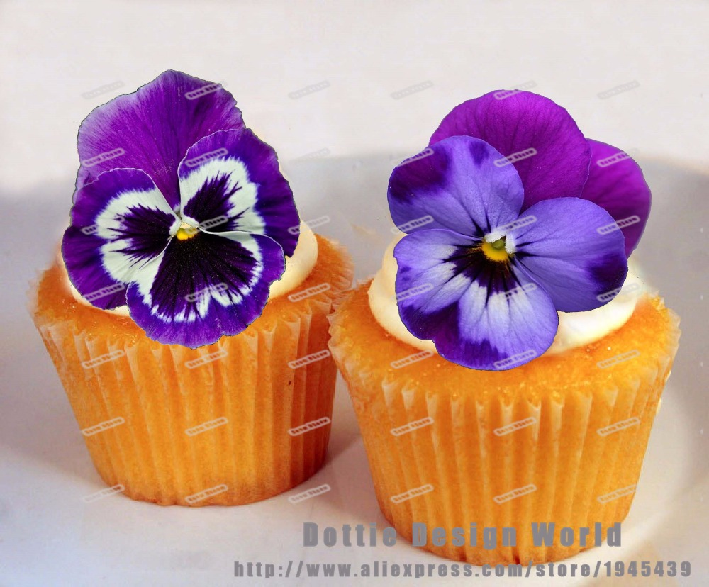24 Purple Pansy Flower Edible Cake Topper Wafer Rice Paper Cupcake Topper Wedding Cake