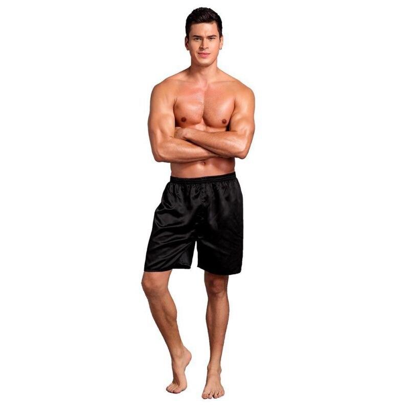 Soft Loose Underwear Satin Pajama Pants Elastic Waist Sleep Shorts Smooth Solid Beach Bottom Shorts For Men