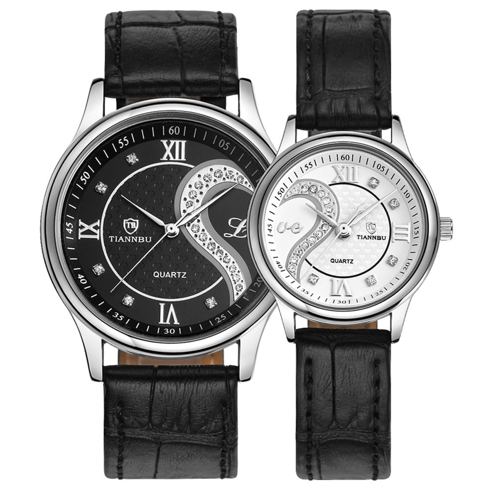 1 Pair Tiannbu Ultrathin Couple Watches Top Brand Mens Womens Watches Luxury Leather Analog Quartz Watch with Retail Box