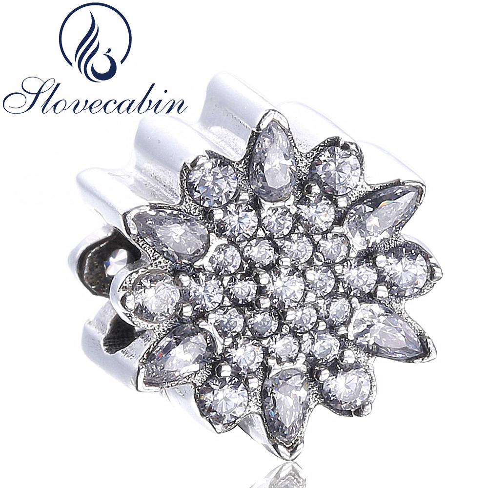 Slovecabin Real 925-Sterling-Silver Snowflake Crystal Bead Charm For Jewelry Making Diy Silver Beads Fit Pandora Charms Bracelet