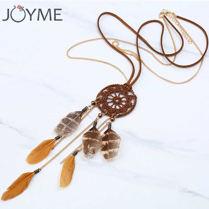 Joyme New Handmade Bohemia Style Dream Catcher Necklace with Feather Pendant Women Retro Tassel Necklace Long Boho Jewelry