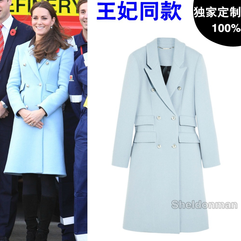 2015 Winter European Style Women 39 S Autumn Kate Middleton Long Section Double Breasted Wool Coat