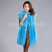 2016 Lady Fashion Genuine Natural Whole-hide Fox Fur Vest Waistcoat  Winter Women Fur Gilet Outerwear Coats VK1473