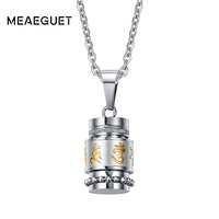Meaeguet Om Mani Padme Hum S Pendant Necklace For Women Buddhism Style Party Vintage Stainless Steel