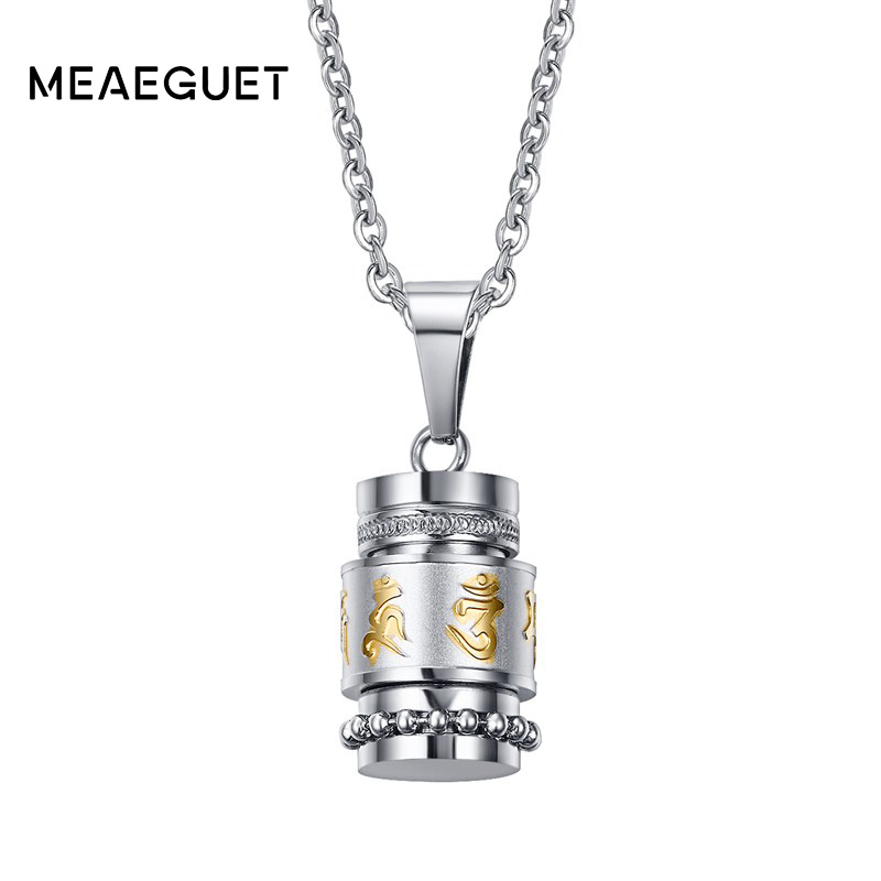 Meaeguet Om Mani Padme Hum Spinner Pendant Necklace For Women Buddhism Style Party Vintage Stainless Steel Jewelry