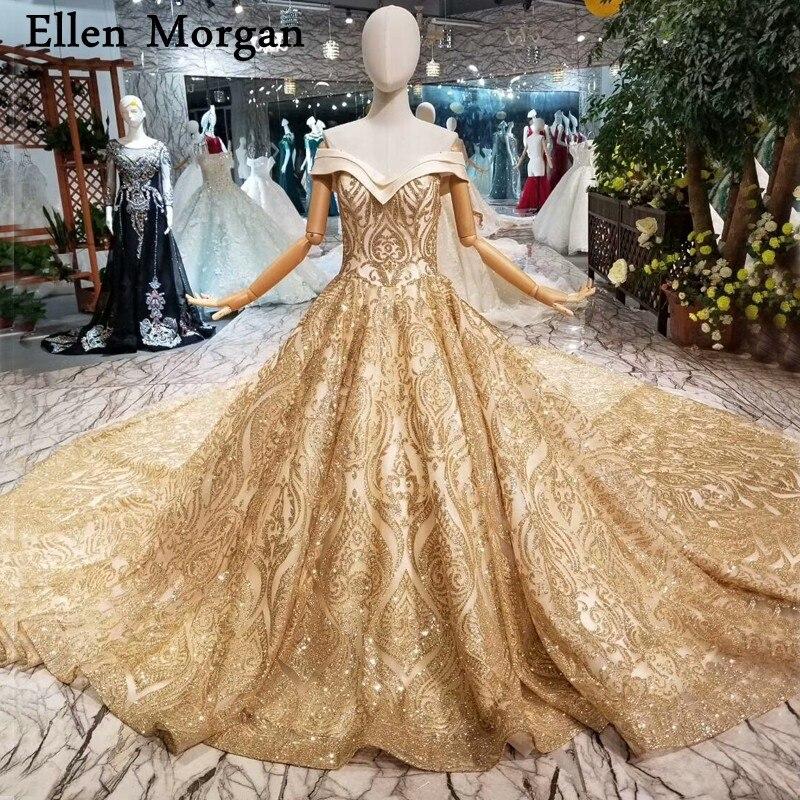 Glitter Shiny Gold Ball Gowns Wedding Dresses 2018 Custom