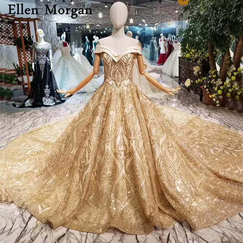Glitter Shiny Gold Ball Gowns Wedding Dresses 2019 Custom Made Real Photos Off  Shoulder Long Train acfb204c3984