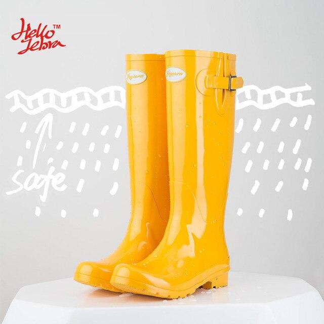 Hellozebra mulheres chuva botas inglaterra luz na altura do joelho alto botas de chuva mulheres Doce Cor de Água Sapatos Botas Queda Mulheres de Borracha 2017 nova