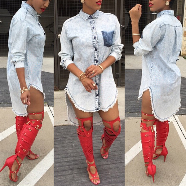 Womens Denim Jeans Shirt Mini Dress Long Sleeve Casual Tunic Dresses Blouse Tops