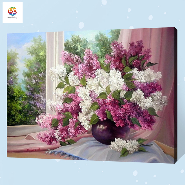 Frameless Diy Digital Painting By Number Window Lilac Vase Acrylic