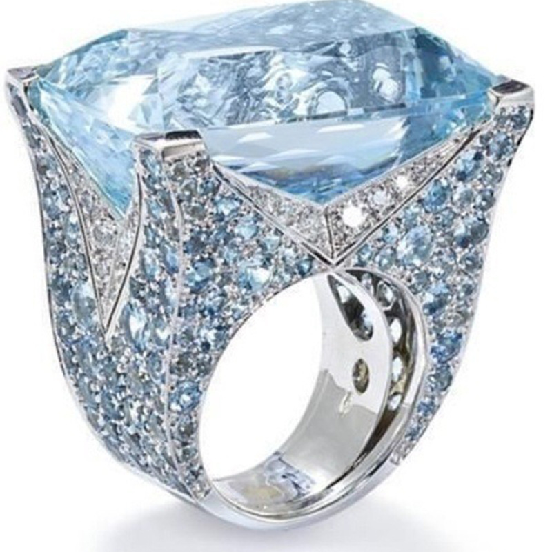 2019 nouvelle haute qualité bleu grande pierre princesse taille cristal anneaux pour femmes fille mariage fiançailles fête de luxe bijoux cadeaux