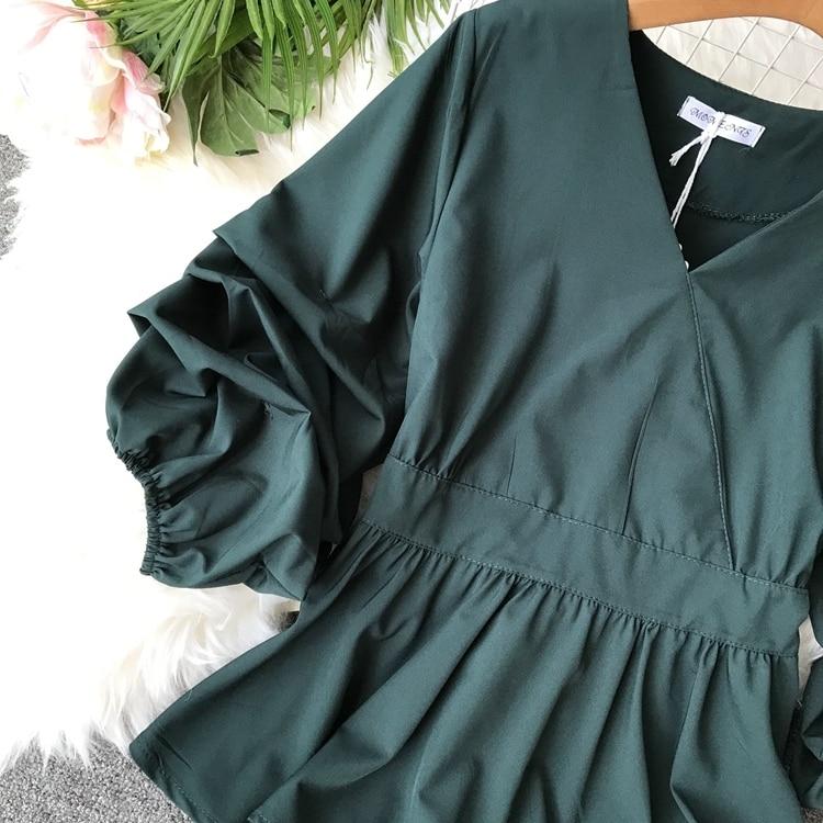2109 Spring Women V-neck Puff Sleeves Blouse Slim Tunic Tops Retro Vintage Pullovers Busos Para Mujer Kimonos 102