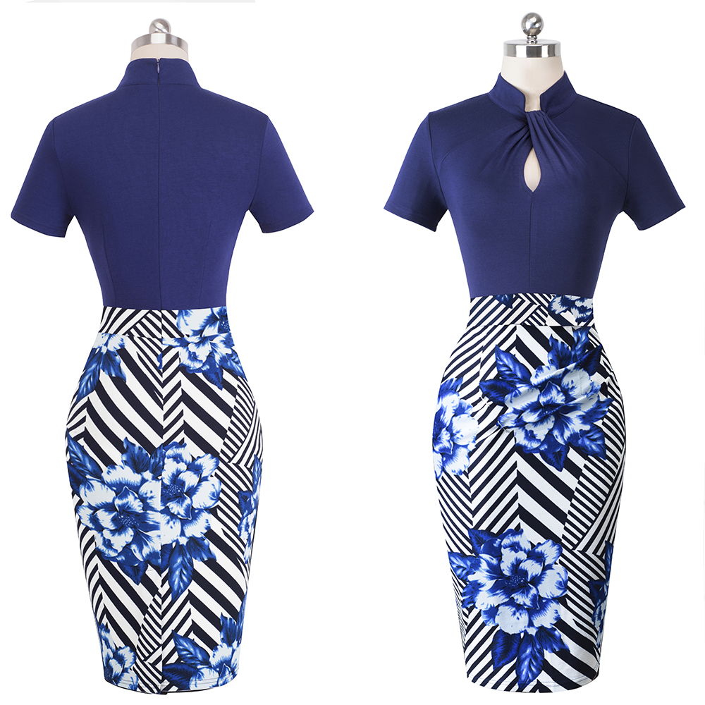 Nice-forever Vintage Contrast Color Patchwork Wear to Work Knot vestidos Bodycon Office Business Sheath Women Dress B430 42