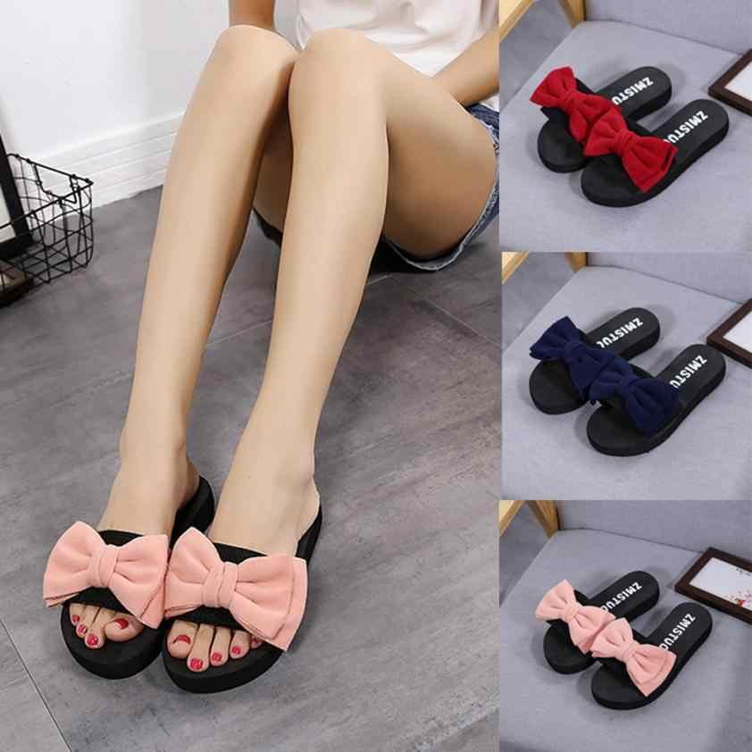 6e897a57b2767 Hot Sale Women Flip Flop Bow Summer Sandals Slipper Size 36-40 Indoor  Outdoor Flip