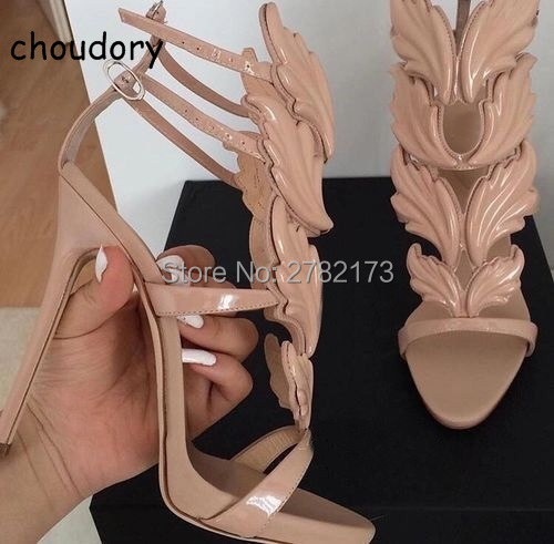 2017 New Luxury Suede Summer Shoes Woman Leaf Winged Gladiator Sandals Women 120mm High Heels Women Sandals Platform Wedge Shoes 2017 suede gladiator sandals platform wedges summer creepers casual buckle shoes woman sexy fashion beige high heels k13w