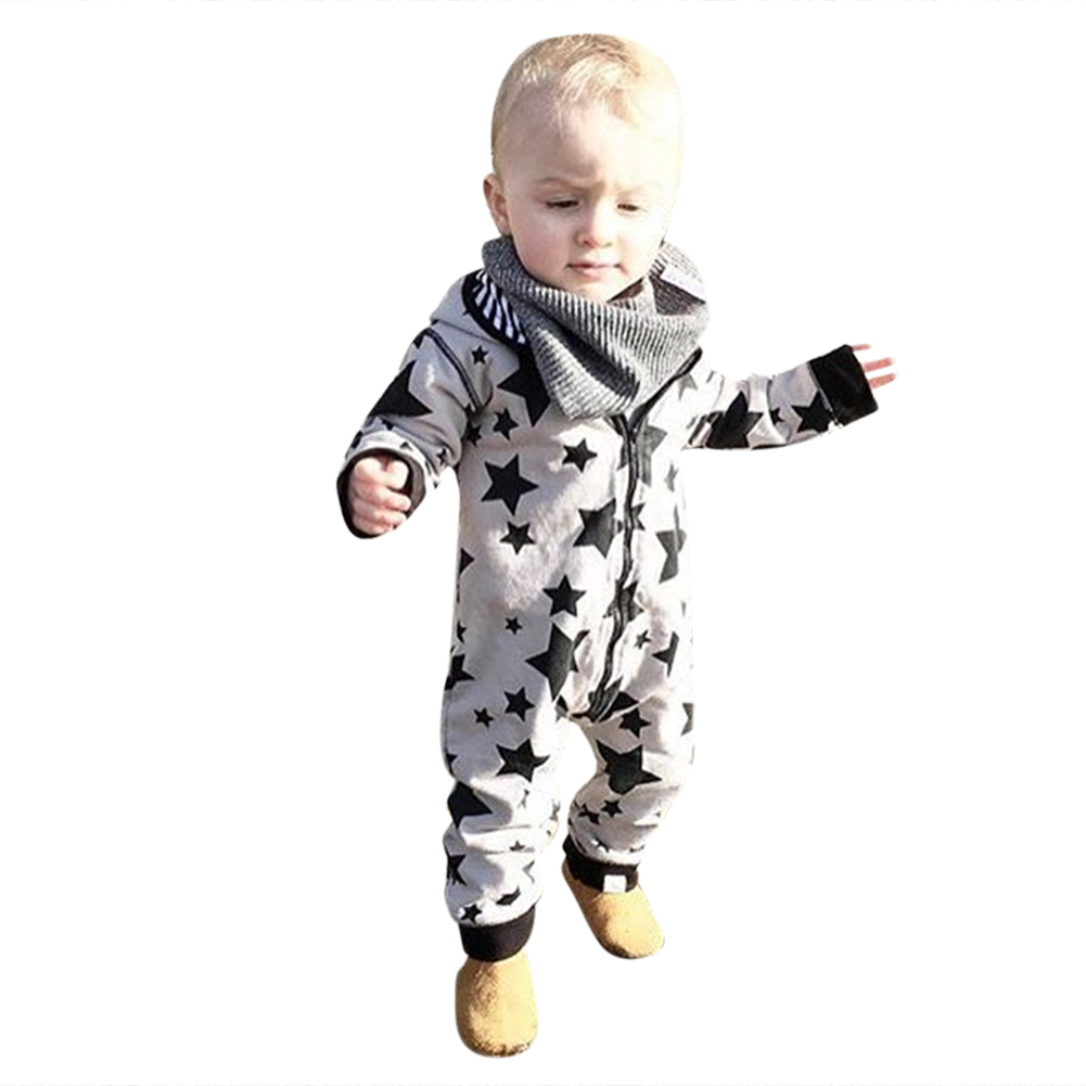 Baby Rompers Newborn Infant Star Stripe Print Long Sleeve Hooded Romper Coverall Jumpsuit Autumn Toddlers Warm Outfit Clothes newborn baby rompers baby clothing 100% cotton infant jumpsuit ropa bebe long sleeve girl boys rompers costumes baby romper