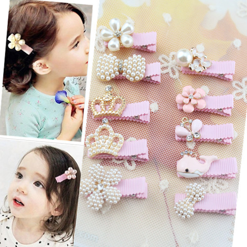 1 PC  Girl Pearl Crown Flower Hair Clip Boutique Hair Accessories Princess Hairpins For Children Kids Fashion Headwear 6pcs lot kids glitter color hair snap clip kids stars headwear five pointed stars hairpins hair accessories