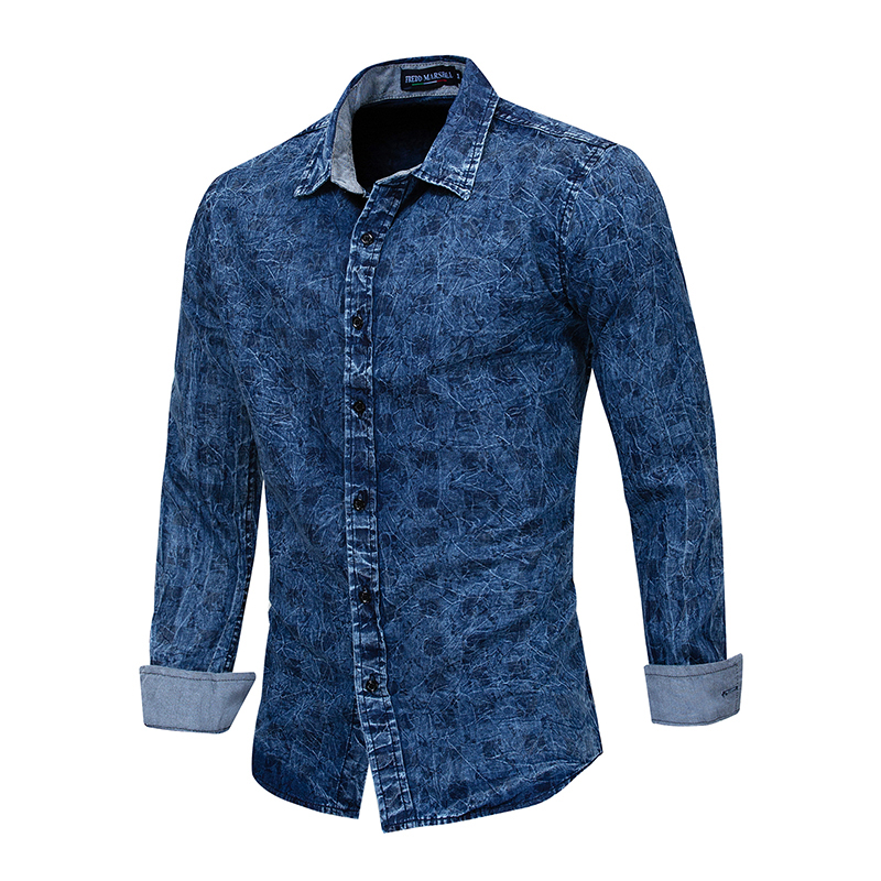 European Size 2019 New Arrival Denim Shirt Men Long Sleeve Plus Size Casual Plaid Shirts 100% Cotton Male Brand Shirt Fm181 Refreshing And Enriching The Saliva Men's Clothing Casual Shirts