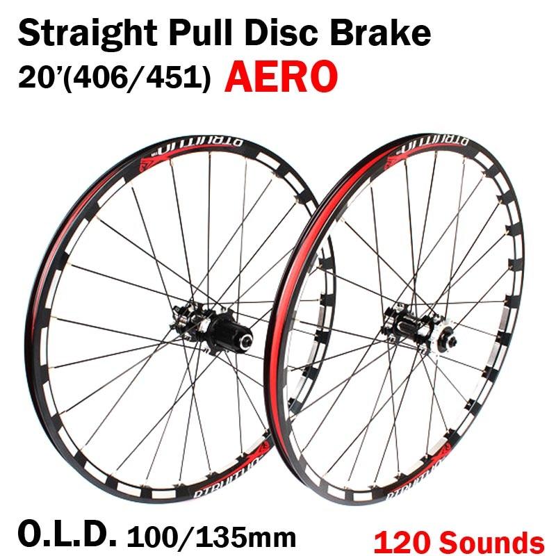 цена на Straight Pull 20 inch Disc Brake 406/451 O.L.D. Front 100mm Rear 135mm Clincher Fold bike BMX Wheelset Wheel UD Matt