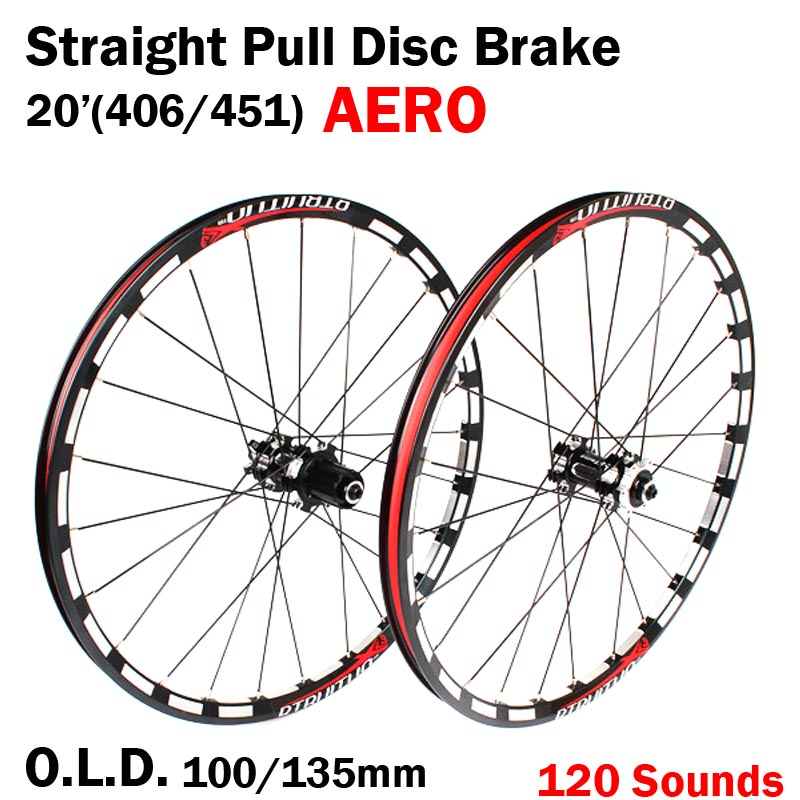 Straight Pull <font><b>20</b></font> inch Disc Brake 406/451 O.L.D. Front 100mm Rear 135mm Clincher Fold bike <font><b>BMX</b></font> Wheelset <font><b>Wheel</b></font> UD Matt image