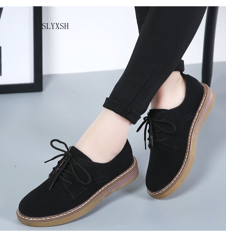 SLYXSH 2019 Autumn women sneakers oxford shoes flats shoes women   leather     suede   lace up boat shoes round toe flats moccasins