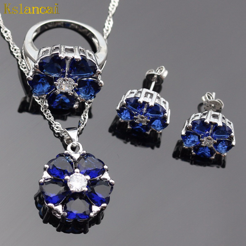 Lan Hot Selling Choker 925 Silver Jewelry Sets Flower Shaped AAA Zircon Blue Ring Necklace Pendant