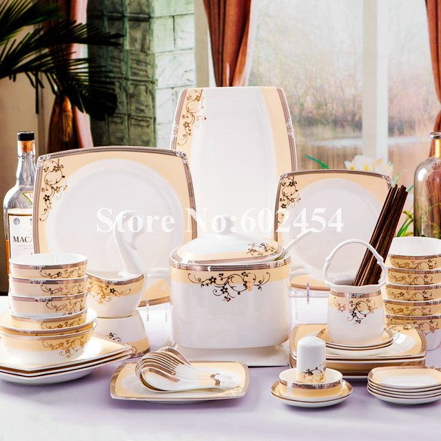 Good Quality Ceramic Tableware Set Chinese Style Dinnerware Sets Bone China  Plates Bowl Use Inmicrowave And