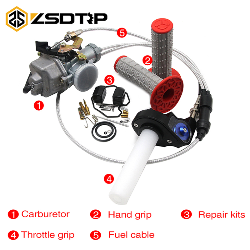 ZSDTRP Keihin PZ30 30mm Carburetor With Visiable Twister Cable Repair Kit Grips For 125 200 250CC Motorcycles image